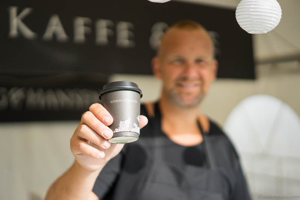 Andreas at Solberg & Hansen brews fresh coffee for you every day