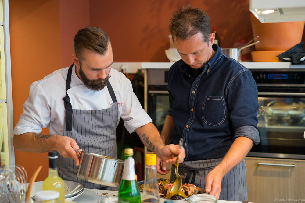 The chefs in the kitchen, led by Andreas Viestad