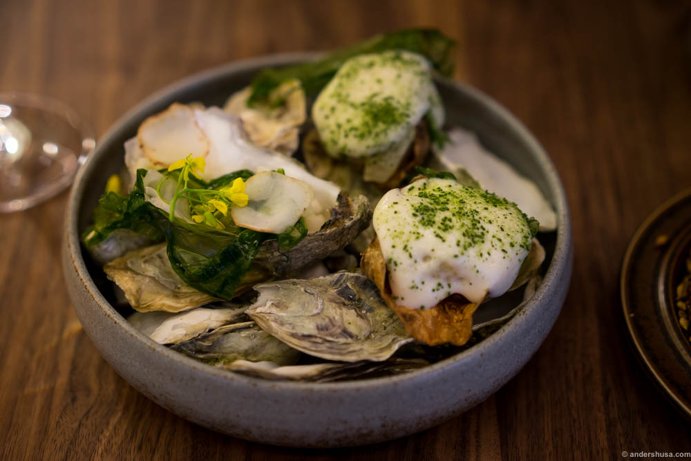 Jerusalem artichokes, oysters and a seaweed salad. Two fake oysters and one real. A fun dish, but easier to share with one more oyster.