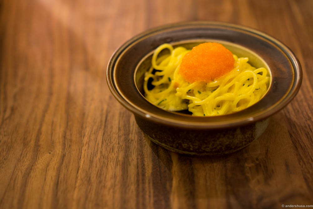 """Spaghetti and """"løyrom"""". A classic from the menu before summer, which they luckily had kept. Buttery and fatty pasta with fresh, salty fish roe to balance it."""