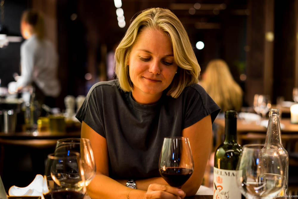 """Linn reflecting on the Anselma Russ Vino Rosso. A 70 % Nebbiolo and 30 % Barbera blend from Barolo. As Linn described it; """"It struck me with its well-balanced red cherries, well-integrated alcohol, and soft tannins. Ready to drink. A producer to return to ..."""""""
