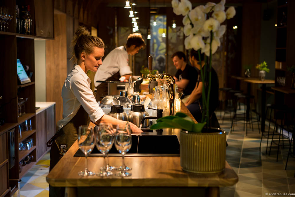 """""""Matbaren"""" - the food bar, where you can drop by and enjoy some small plates until 00.30 and good wine until 02.00"""