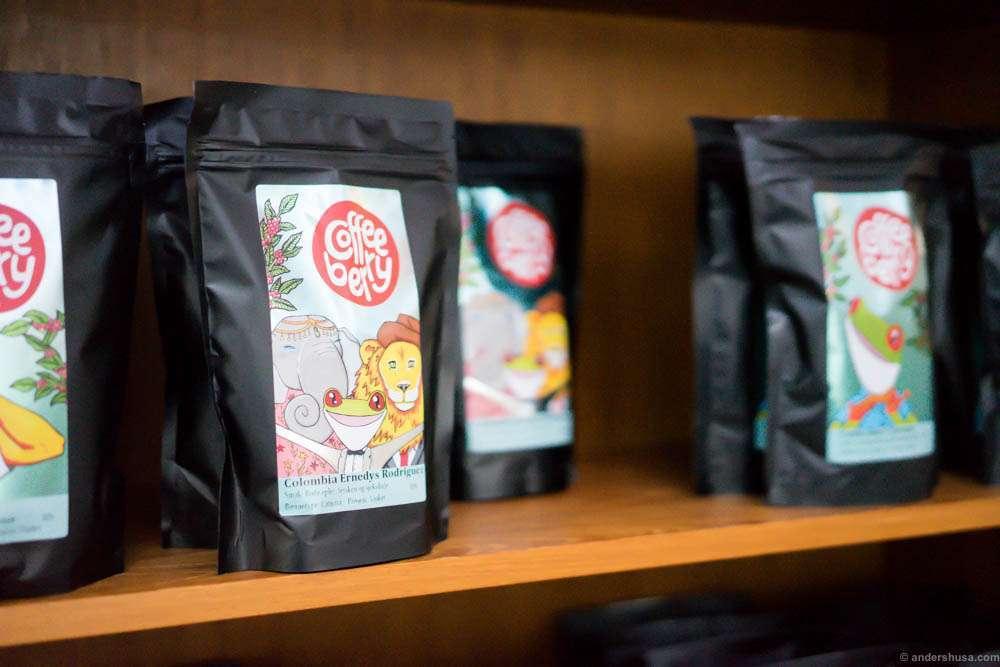 Coffee from Jacu Coffee Roastery in Ålesund, in Coffeeberry branded bags