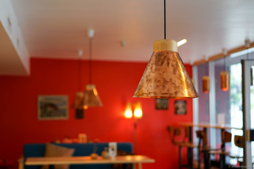 Copper lamps at Coffeeberry Stavanger