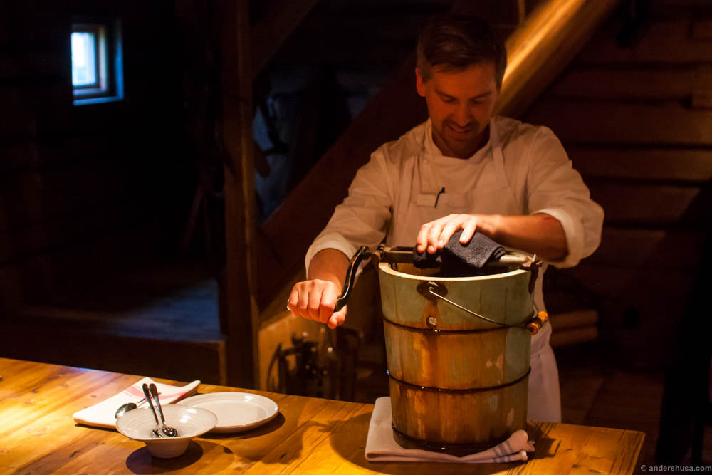 Making ice cream the proper old way! Hand churned with ice cubes in a bucket.