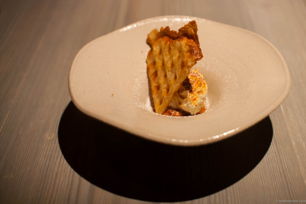 A traditional Nordic waffle served with a Mascarpone cream and cloudberries