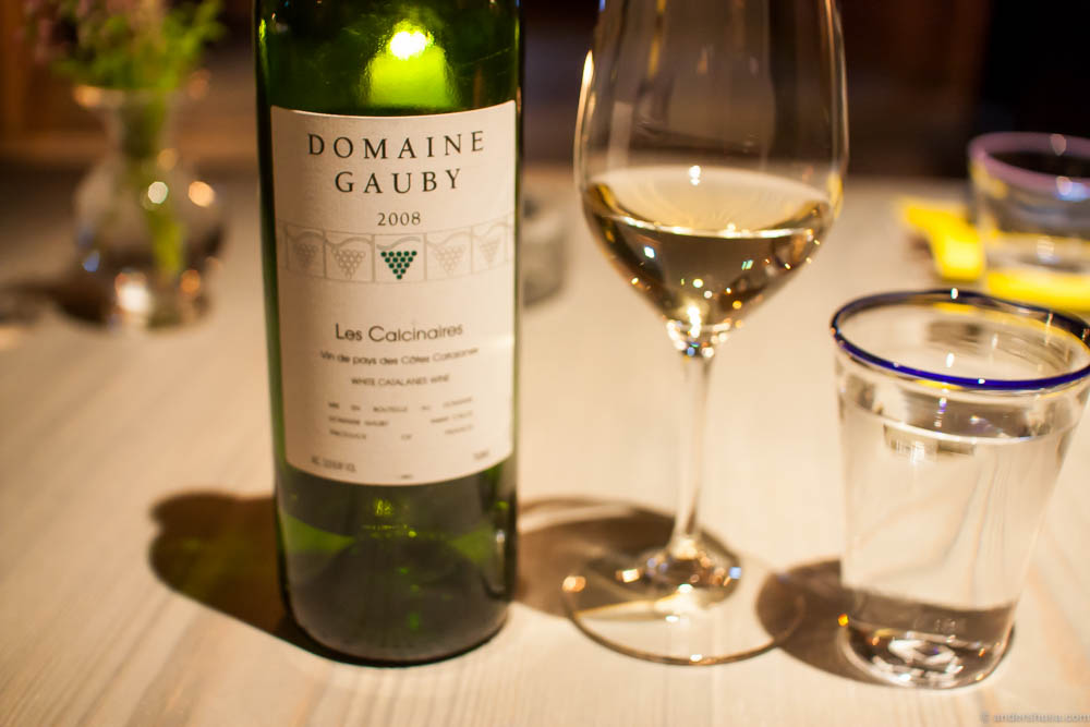 2008 Domaine Gauby, Les Calcinaires Blanc. All the wines we got throughout the meal were of really high quality! Just to my taste as well.