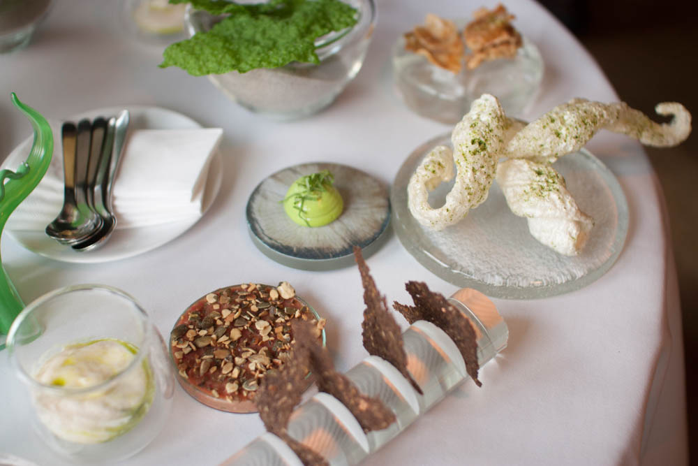 Parsnip cream, tartar with pumpkin seeds, dill cream with dill and pork rind with lovage.