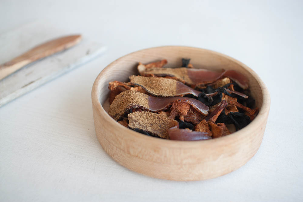 Cured duck with cep mushroom dust