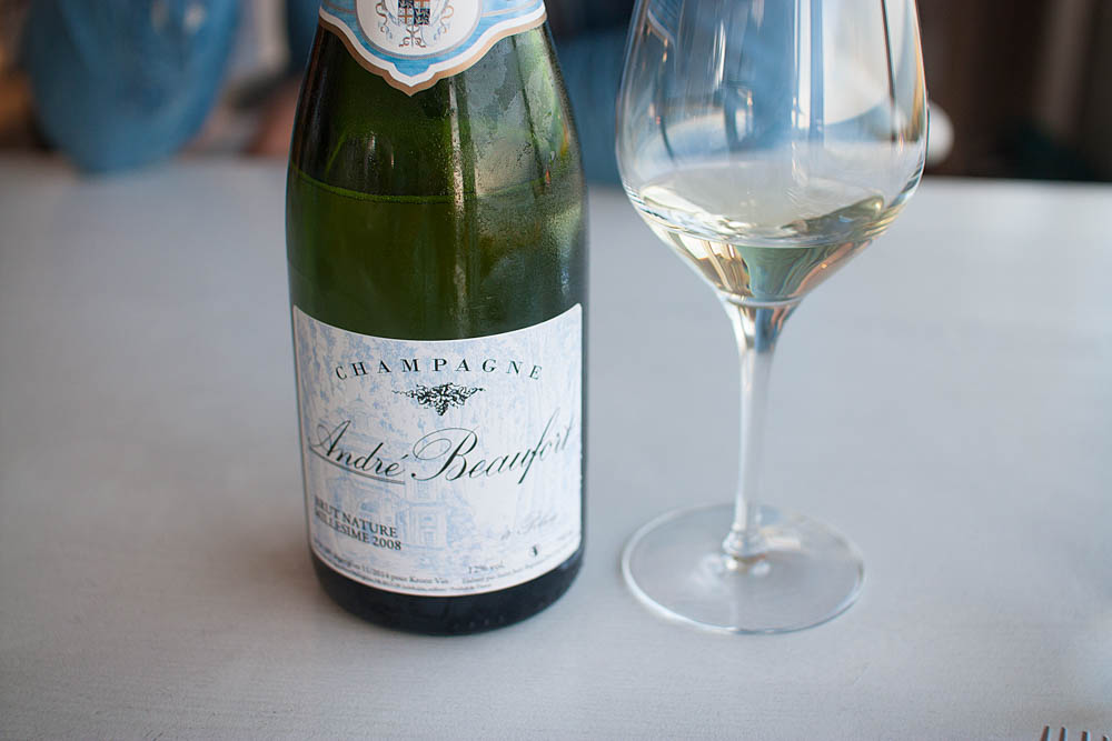 Suddenly we were back on Champagne to match the next dish! André Beaufort 2008