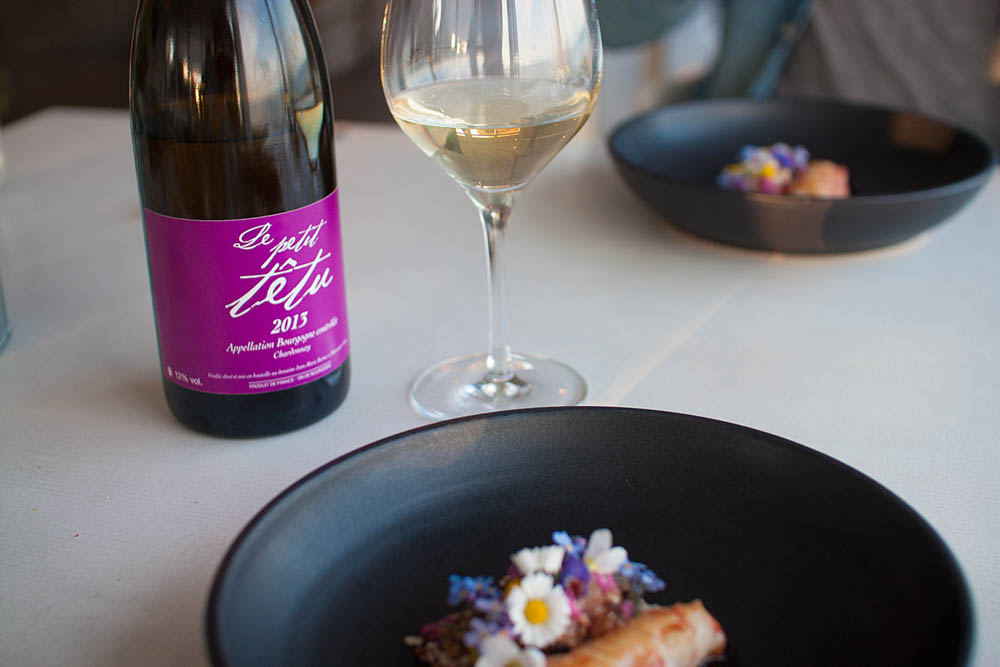 "The pairing for the langoustine was Jean-Marie Berrux ""Le petit têtu"" 2013"