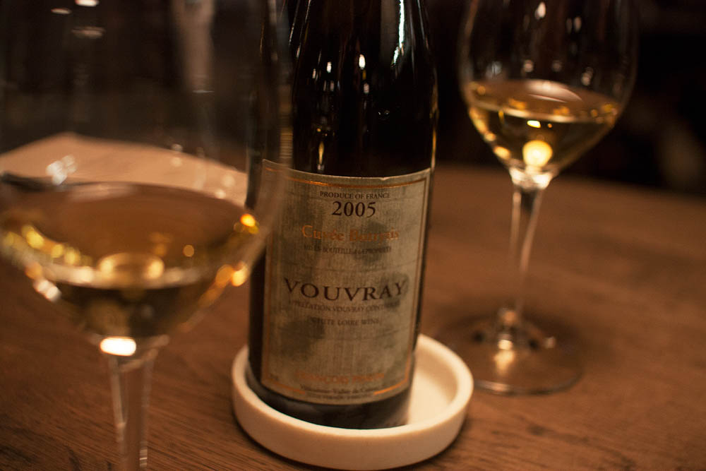 The wine pairing for the final dessert was a Vouvray Cuveé Botrytis 2005. Very buttery and heavy, but a bit too sweet for our palates.