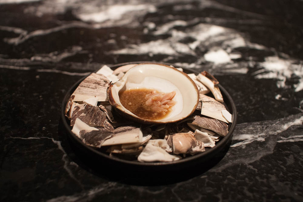 Mahogany clam from Nordskot with a dashi of Norwegian shiitake mushrooms and seaweed.