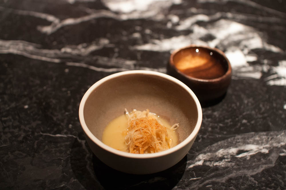 Celeriac cooked with preserved scallop roe
