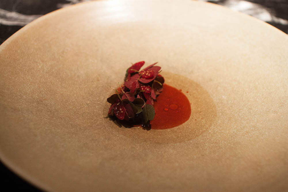 Dried beets glazed in birch sap, currant, and chamomile infusion with caramelized yeast.
