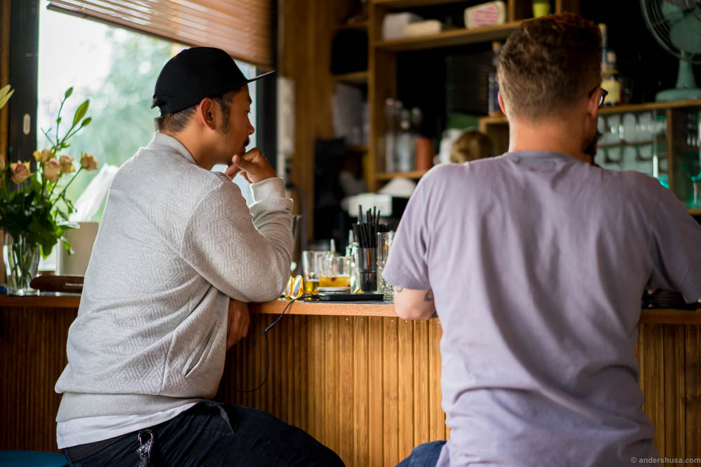 Phuc and Anders chilling in the bar