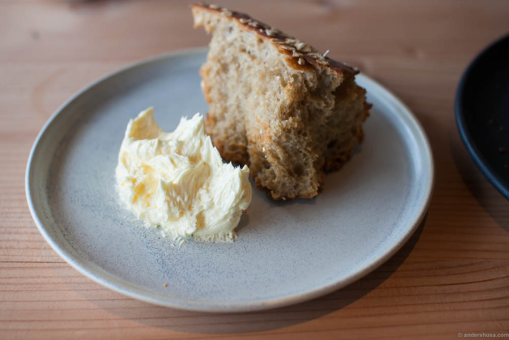 The rougher style in this restaurant compared to Kadeau is evident even in the bread serving. Bread broken by hand and whipped butter straight on the plate.