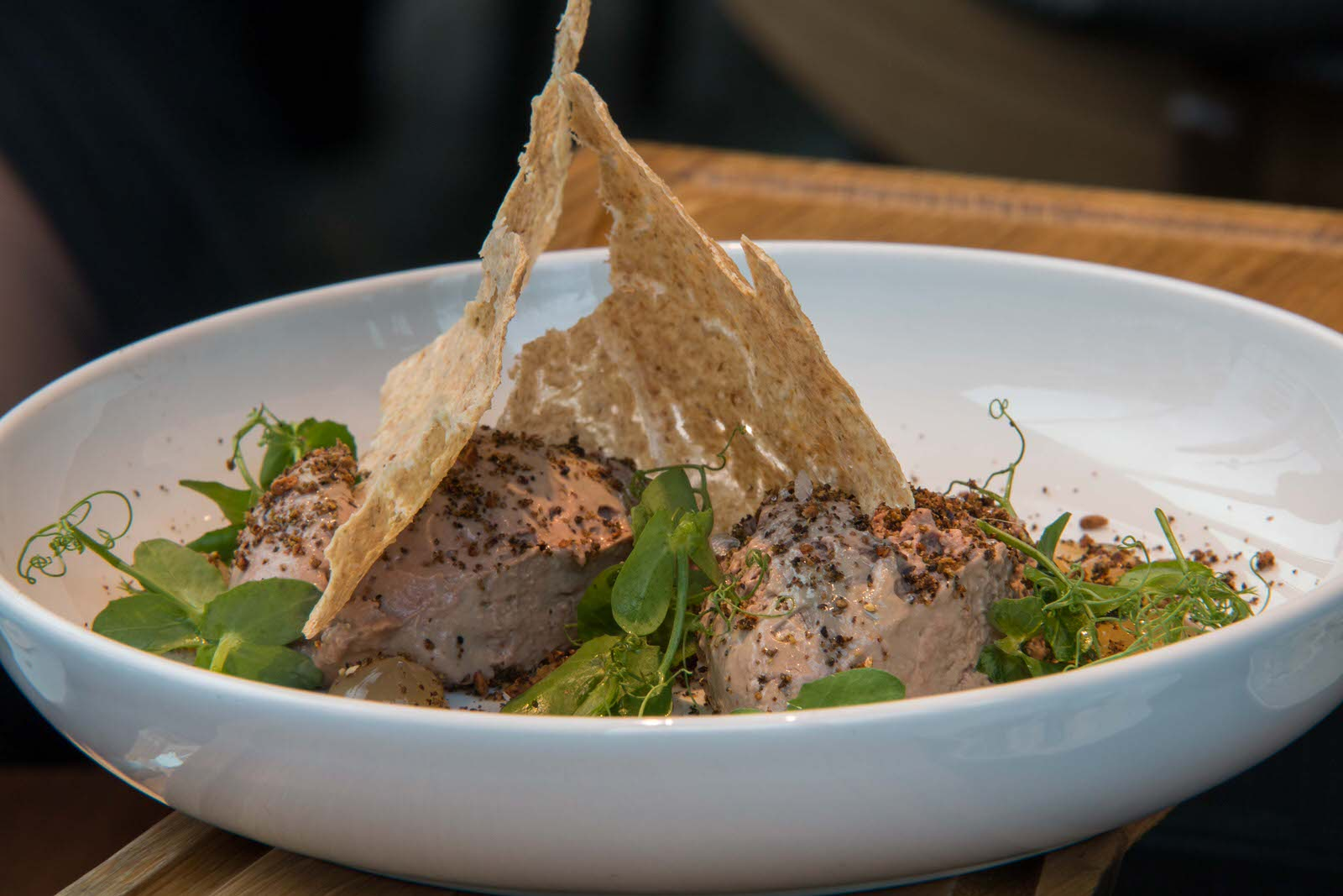 Chicken liver mousse with juniper berry gel and oatmeal chips