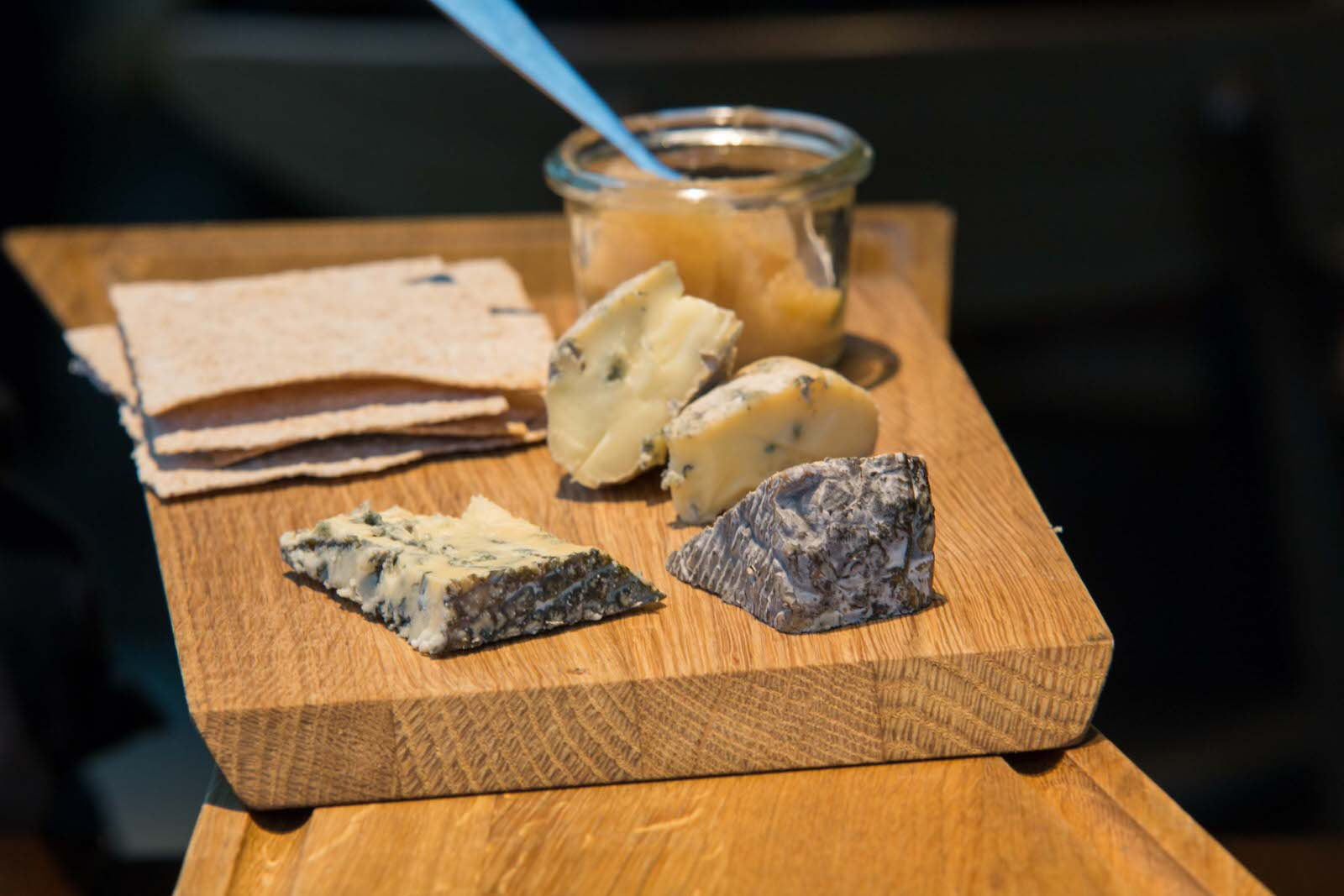 Norwegian blue cheeses with apple chutney. Photo by: Arnold Lan.
