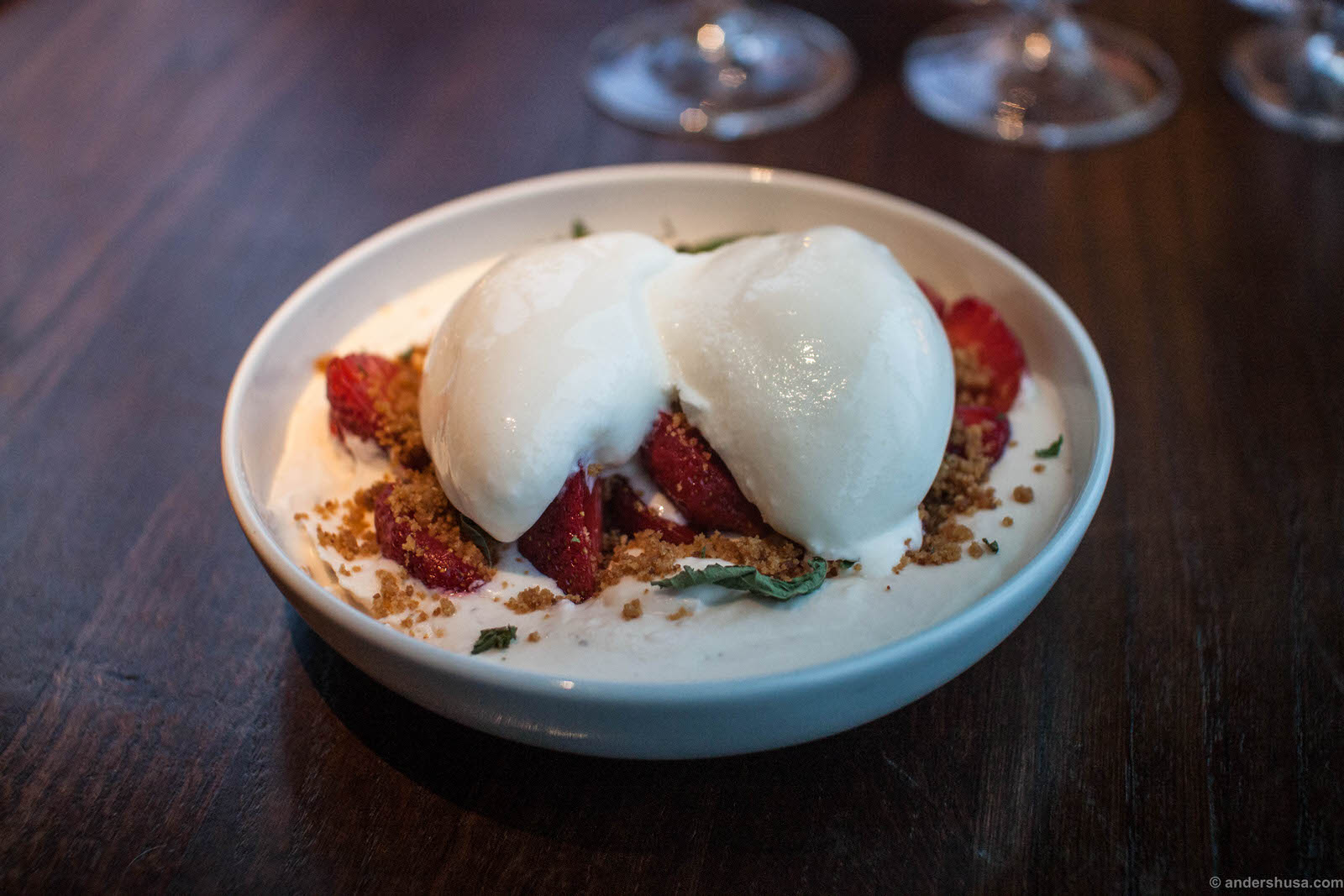 Norwegian strawberries with almond and rye crumble and a sorbet of fresh cheese