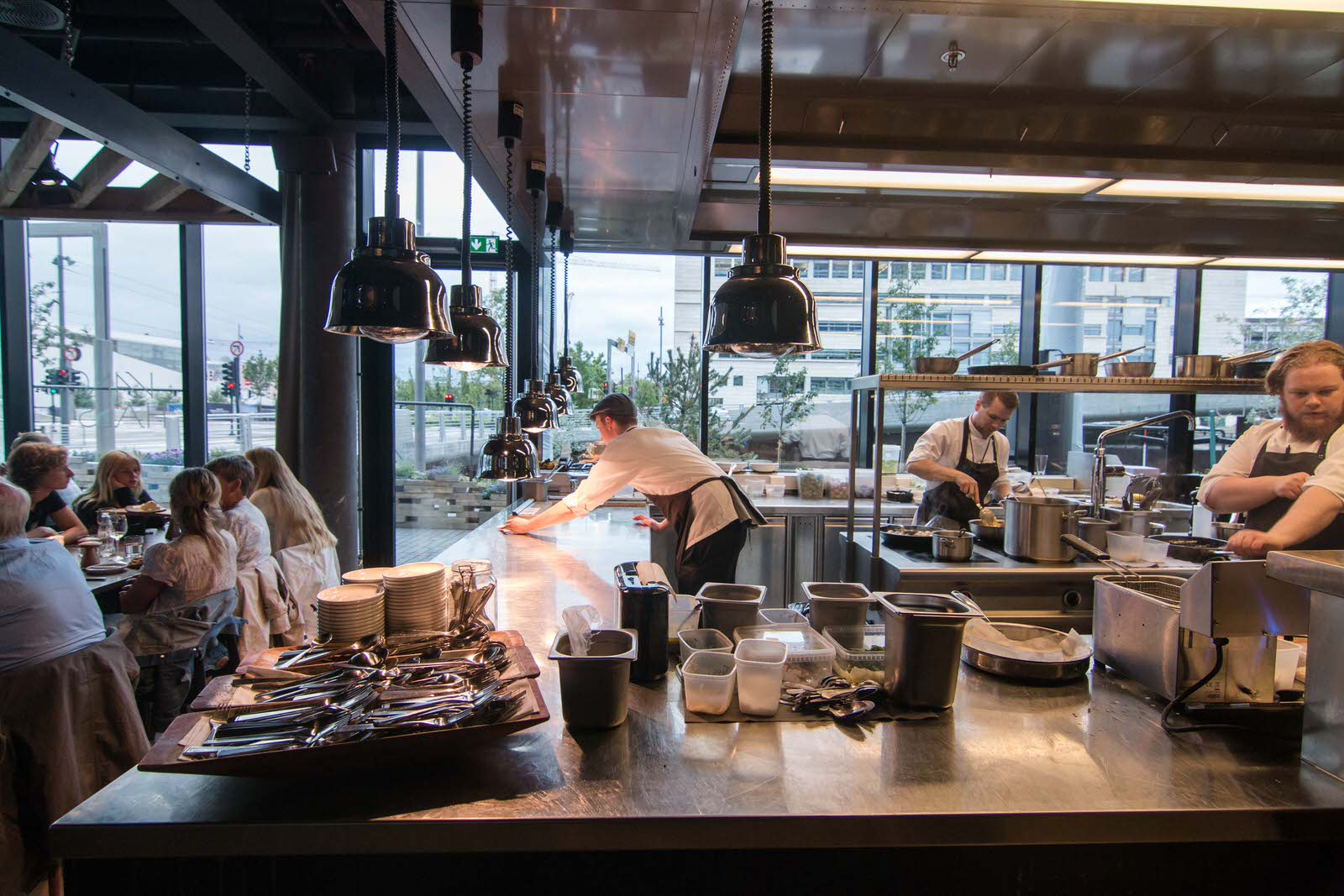The open kitchen at Vaaghals. Photo by: Arnold Lan.