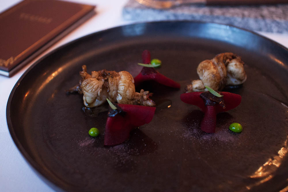 Langoustine from Frøya, baked in a wood-fired oven for 9 seconds. Fermented redbeets & estragon.