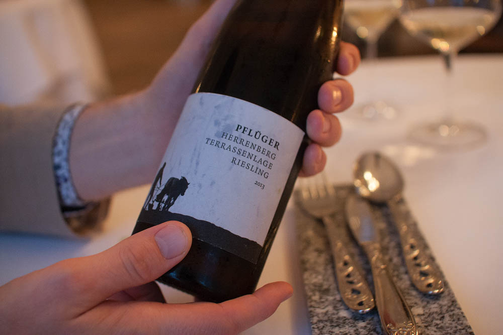 Our neighboring table happened to be a wine importer who follows our blog, and he was generous enough to buy us a glass of one of his wines. Pflüger Herrenberg Riesling 2013. Thanks Tølløv!