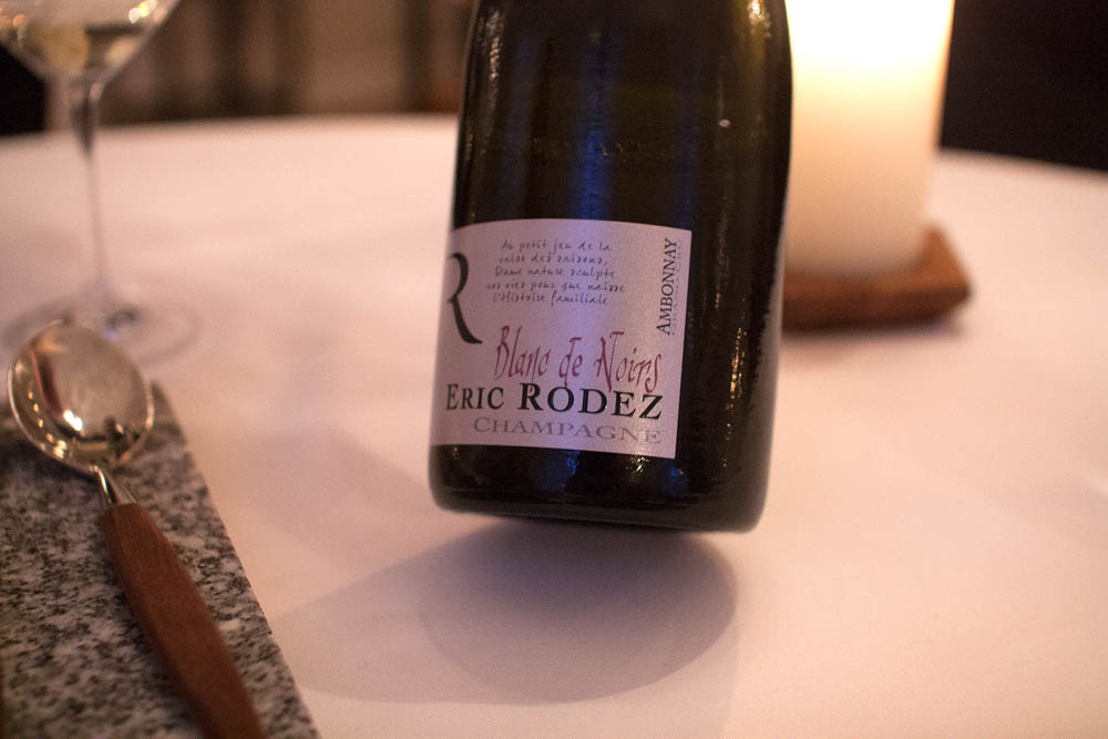 Eric Rodez. Blanc de Noirs. Suddenly we were back on champagne, which we also started with (a De Sousa – Cuvee de Caudalles).