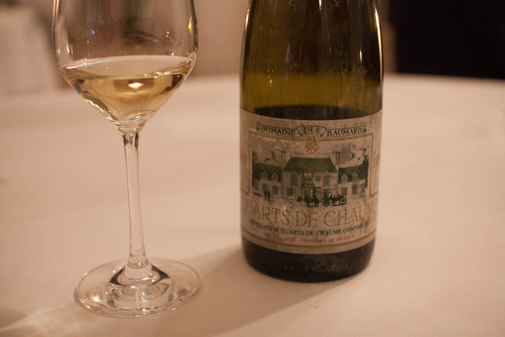 Back on track with the wine pairings; Domaine des Baumard – Quarts de Chaumes 2010.