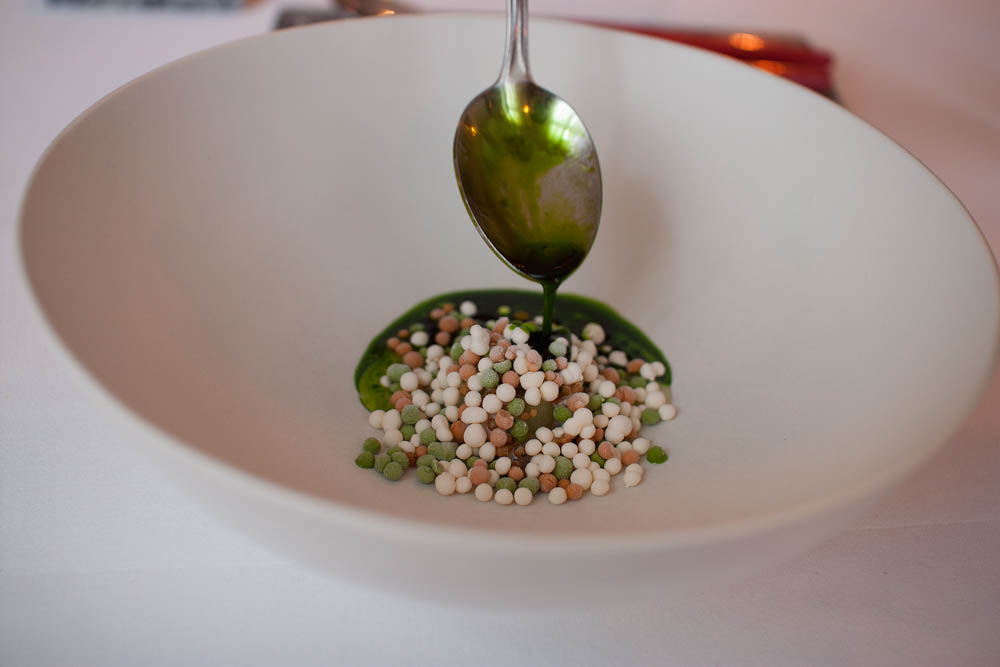 Herring, frozen emulsions of oyster, horseradish and sea urchin & warm parsley broth