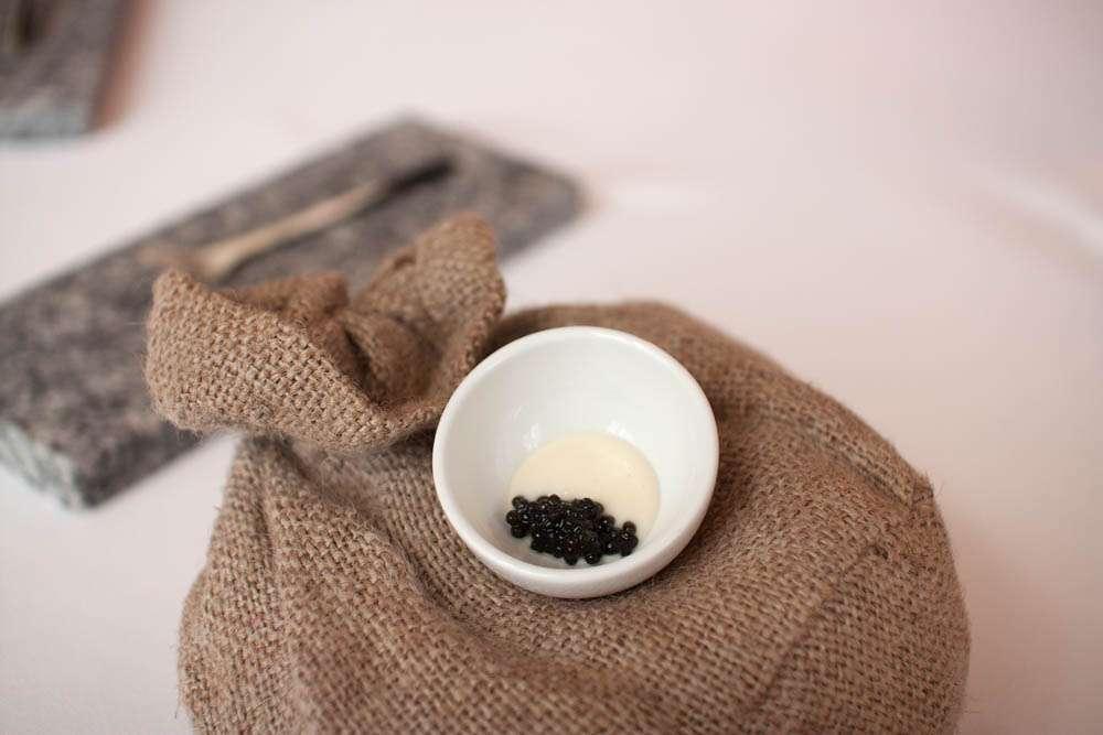 """Semolina and Finnish """"Baeri"""" caviar. Similar to a dish we had at Maaemo."""