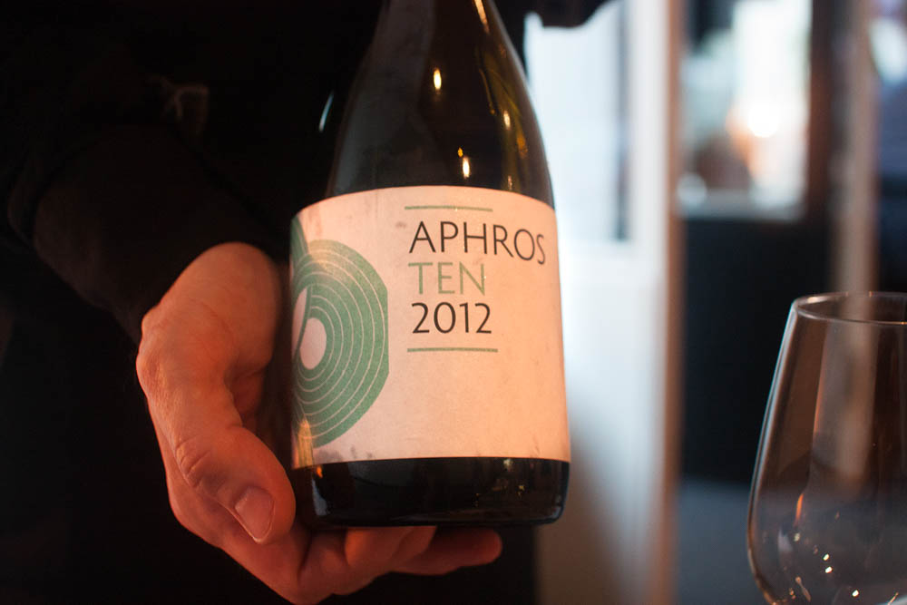 Aphros Ten 2012. A Vinho Verde from Portugal. Quite musky and perfumy. Acidic and semi-sweet.