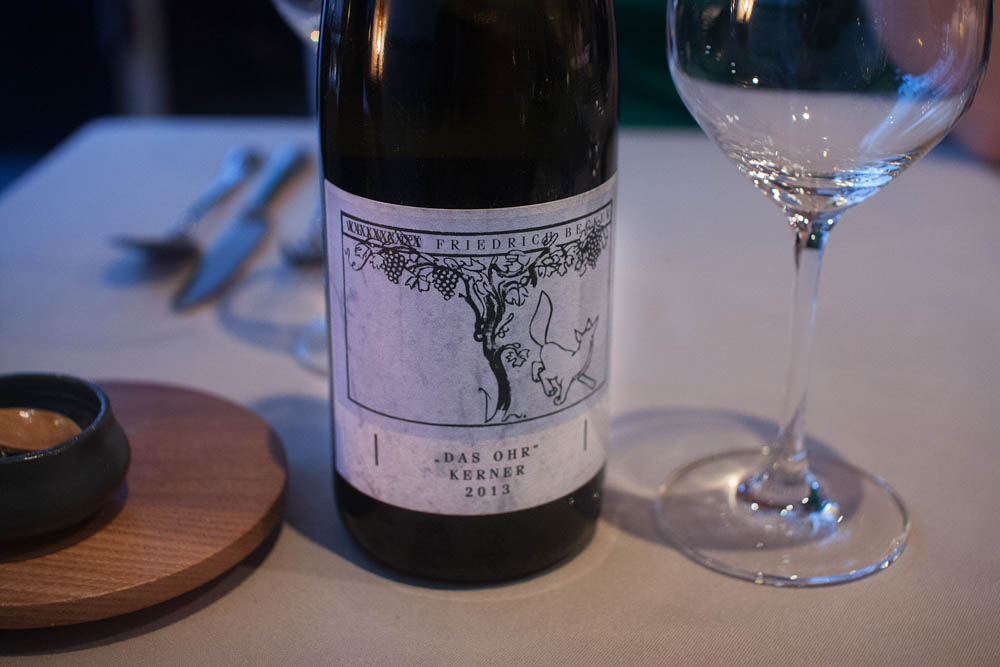 """""""Das ohr"""" Kerner 2013. It means """"the ear"""". Our sommelier said that drinking this was """"like licking a limestone"""". Acidic with a nice minerality to it."""