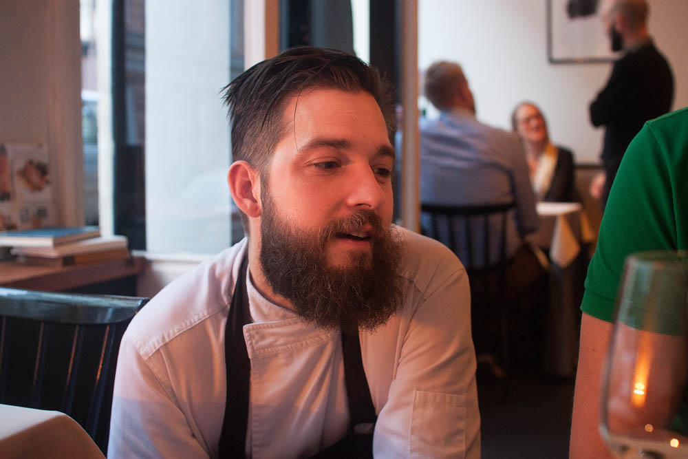 Owner and chef Filip Langhoff at our table, explaining the philosophy of the restaurant