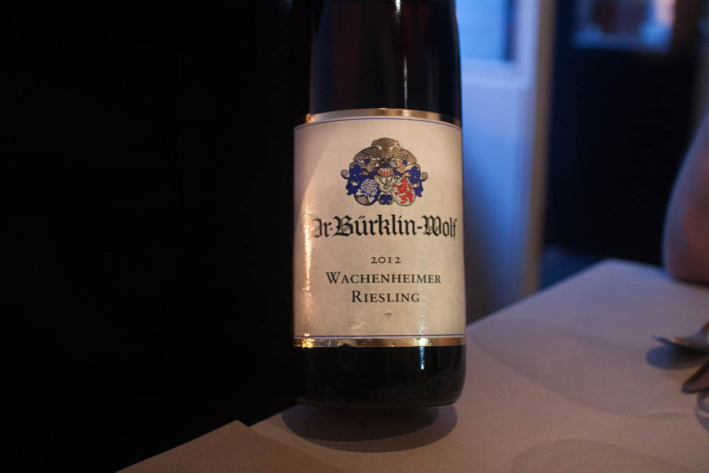 Dr. Burklin-Wolf Wachenheimer Riesling 2012. A very classic Riesling. Minerality, green fruits, nice acidity and sweetness.