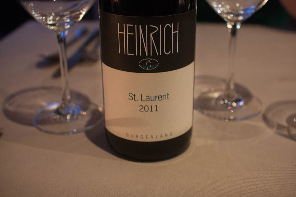 Heinrich. St. Laurent 2011 from Burgenland. the first red wine, with nice red forest berries at the back