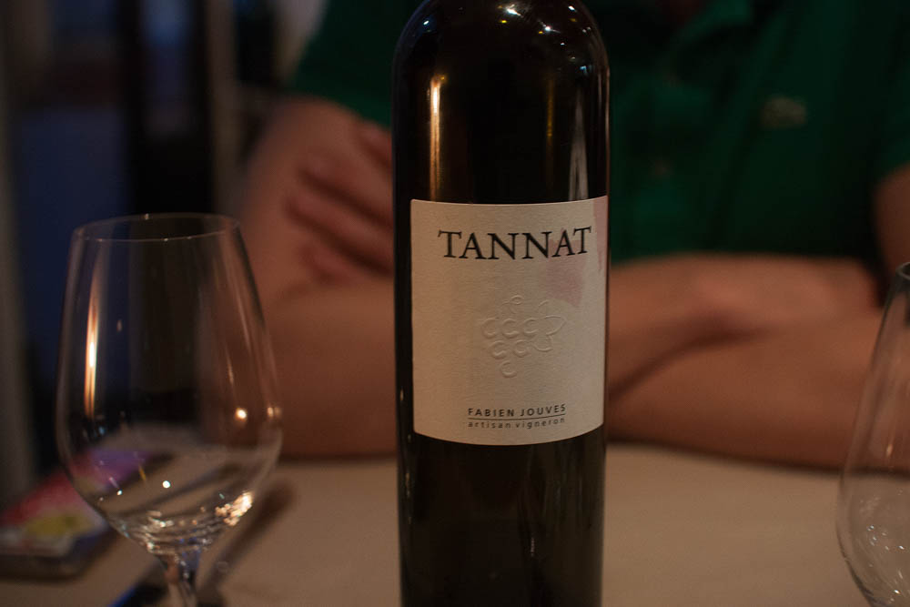 """Tannat by Fabien Jouves to go with our cheese serving. Apparently the most tannin rich wine in the world. Also called """"vino nero"""", meaning """"black wine"""". Very sweet and at the same time tanning rich (obviously), which is a remarkable combination unlike anything I've tried of dessert wines."""
