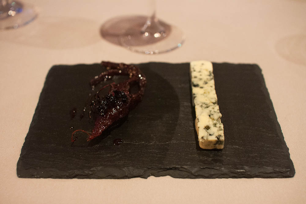 Half-a-year-old Finish cow's milk blue cheese. Served with pickled beets (since last autumn) and caramelized pickled elderberries