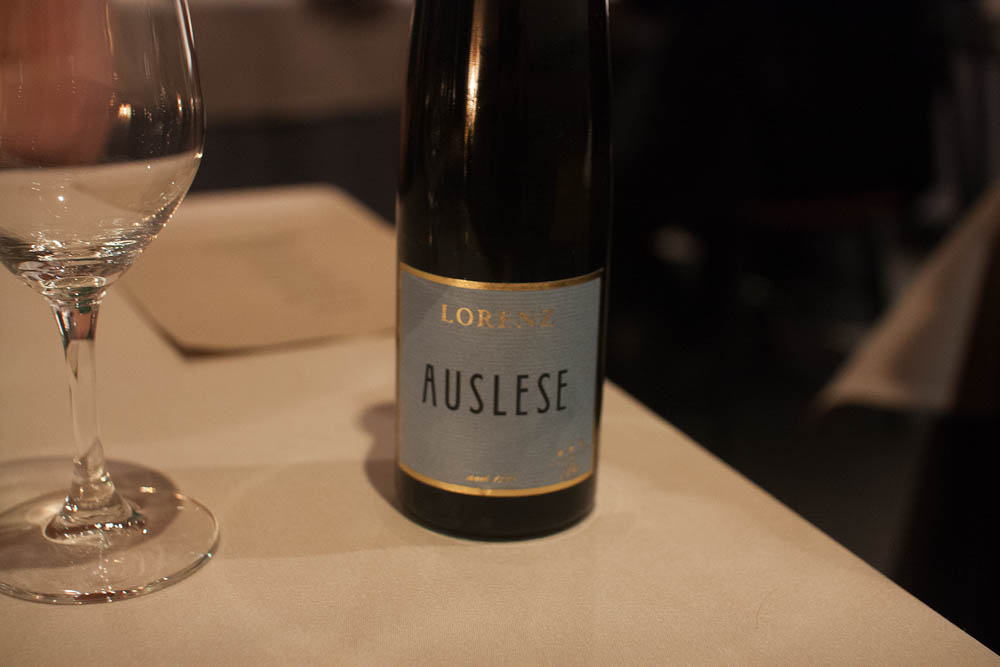 Lorenz Auslese Riesling. A less sweet wine, with a more fresh mouthfeel
