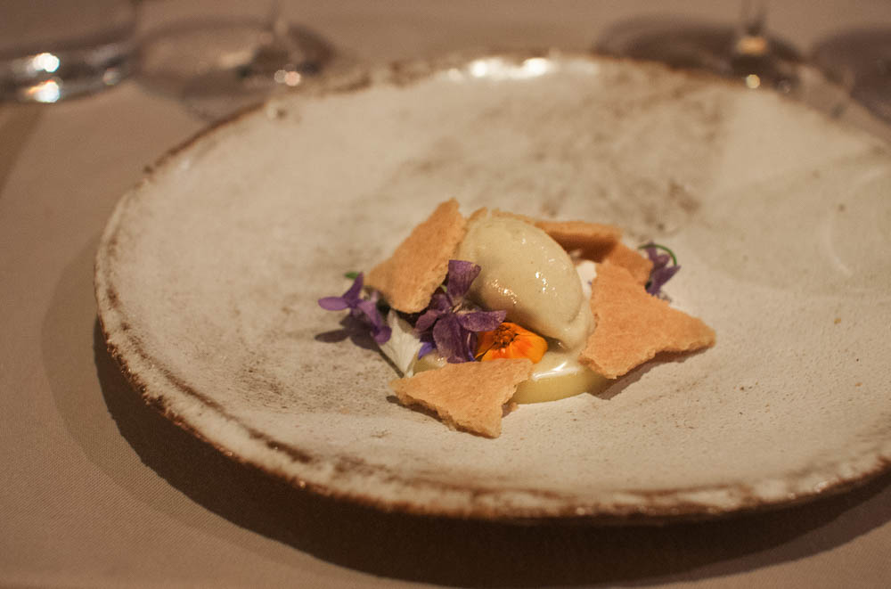 """""""Flowers & milk"""". A lemon cream, ice cream of last year's apples, with pieces of a broken tart and wild flowers"""