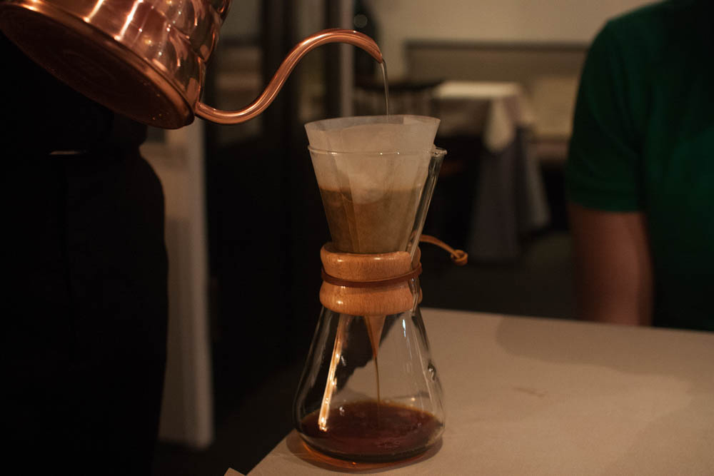Panama coffee brewed in a Chemex, using the same copper Hario Buono drip kettle that I have at home