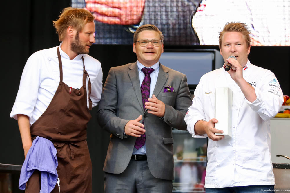 "Tango won the best ""Gladmat"" dish. From left to right; Kjartan Skjelde, Børge Strøm and Gunnar Hvarnes"