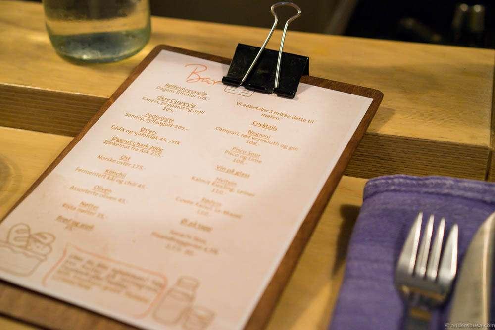 The new bar menu at Smalhans