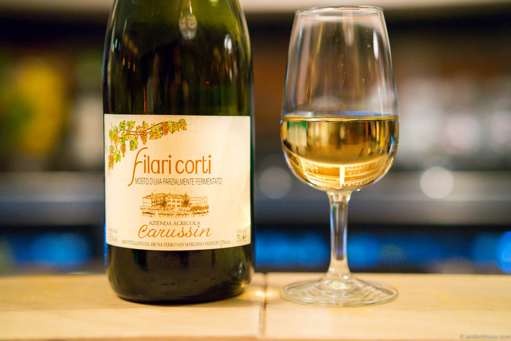 Time for dessert wine. Carussin Moscato d' Asti Filari Corti. Carussin makes some great wines, and this was no exception. A delicate sweetness, light and refreshing.