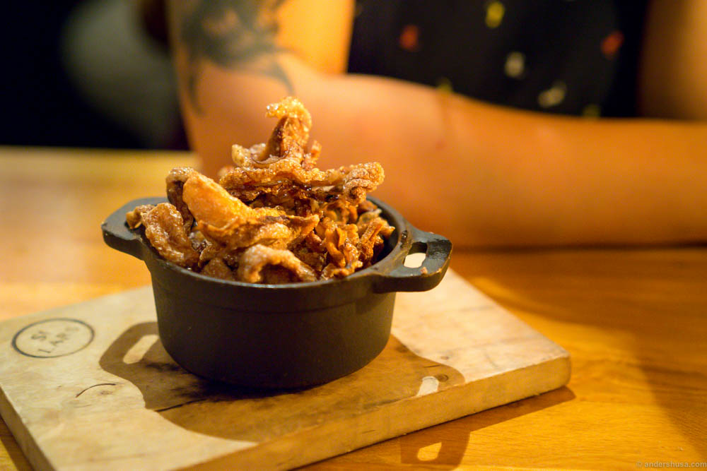 Pig's ear and nose snacks. The real bacon crisp.