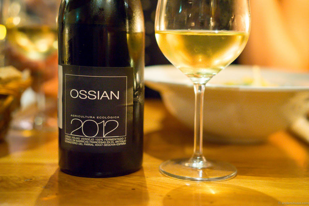 Ossian 2012, a Spanish white wine. Rich in flavor, but still a fresh mouthfeel.