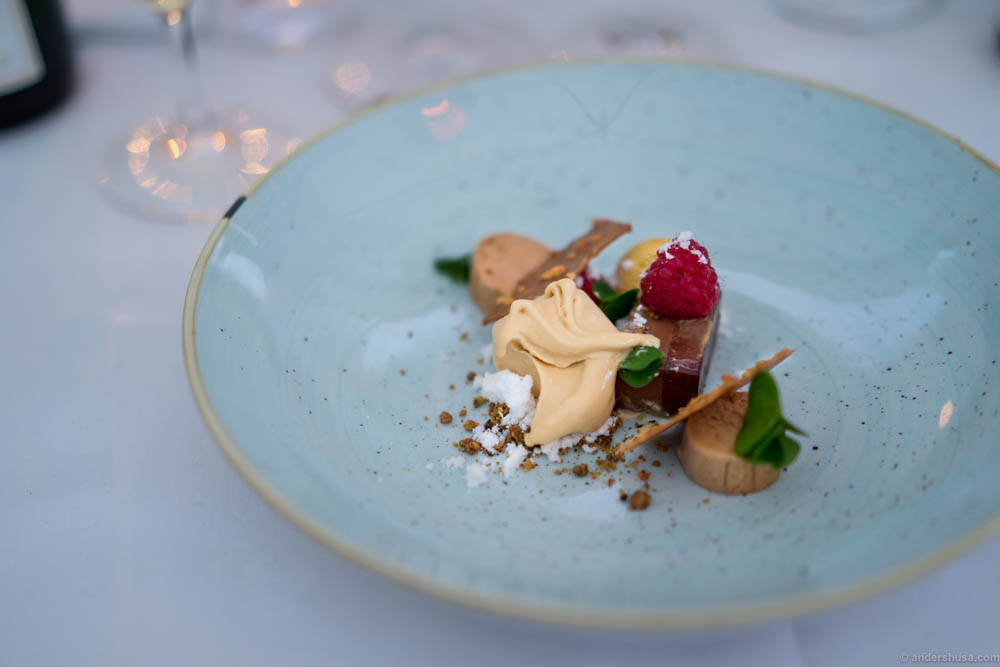 Deconstructed Snickers! What's not to love about this dessert? A chocolate terrine, salty caramel ice cream, peanut crisps, chocolate mousse, raspberry and wood sorrel.