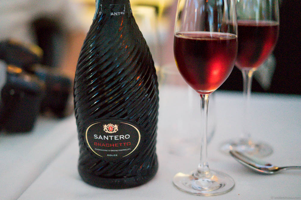 Santero Brachetto Dolce. Another dessert wine for the final dessert ...
