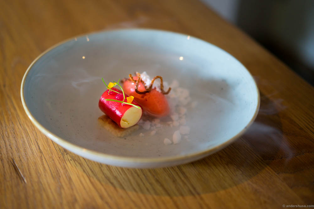 Cheesecake parfait, strawberry sorbet, rhubarb gel, mini churros and ...