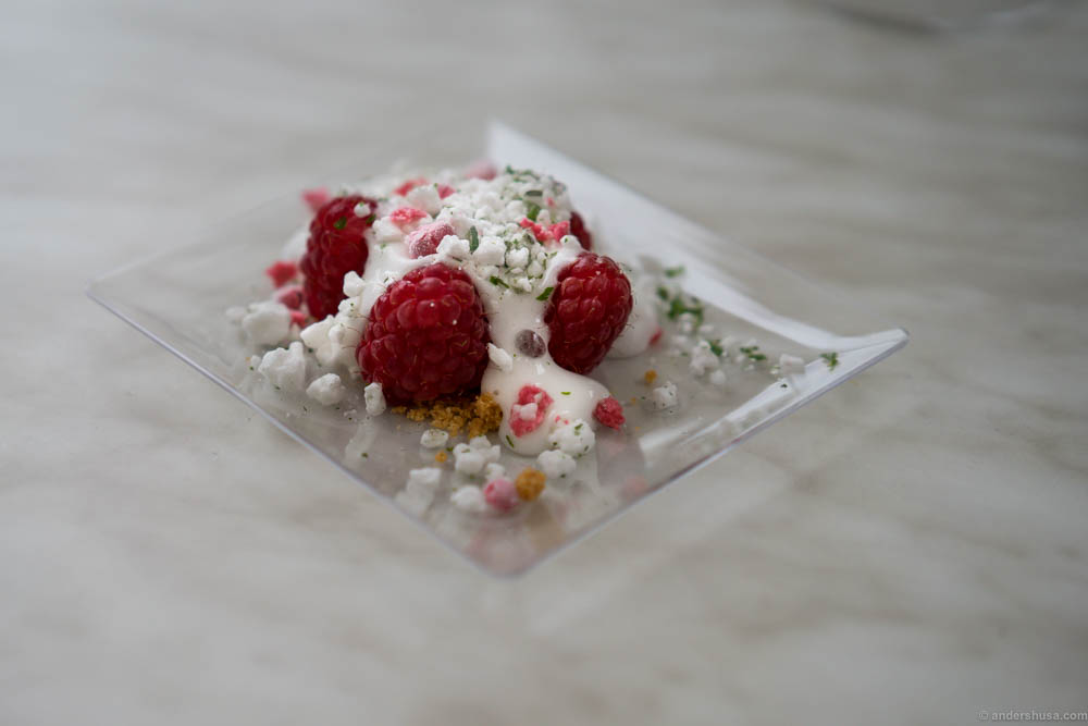 Raspberries from Brimse gård, with a lemon cream and frozen elderflower meringue